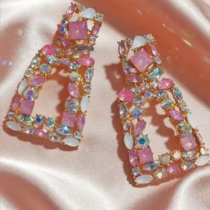 Shiny pink white and gold Earrings